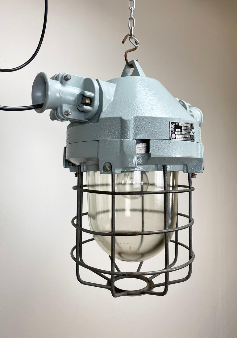 Cast Industrial Bunker Ceiling Light with Iron Cage, 1970s For Sale