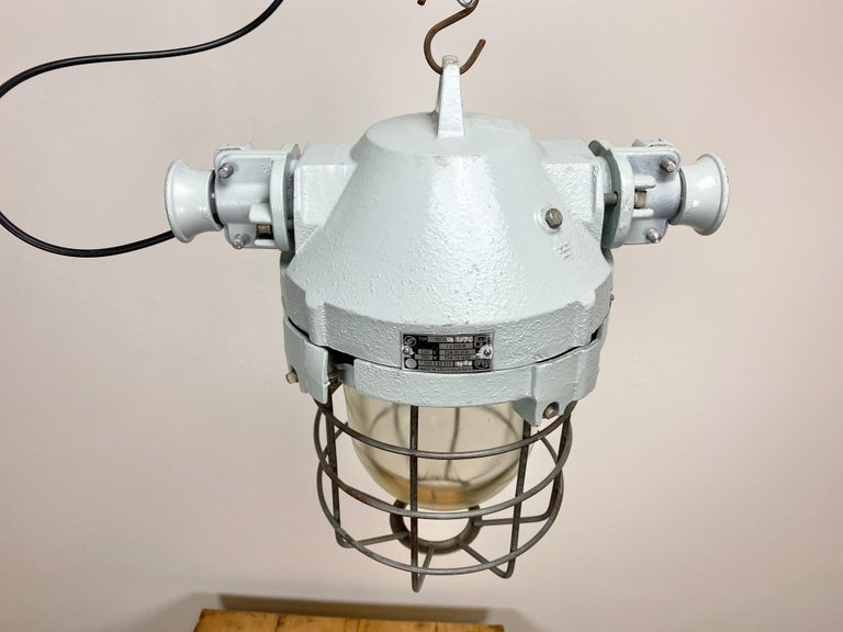 Industrial Bunker Ceiling Light with Iron Cage, 1970s In Good Condition For Sale In Mratin, CZ