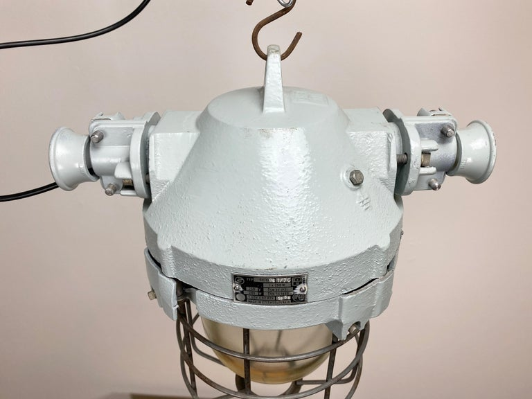 Late 20th Century Industrial Bunker Ceiling Light with Iron Cage, 1970s For Sale