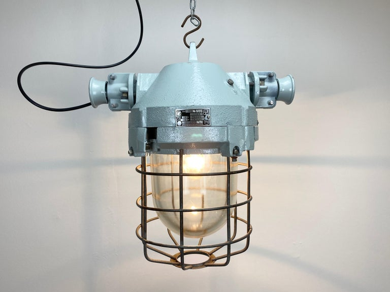 Aluminum Industrial Bunker Ceiling Light with Iron Cage, 1970s For Sale