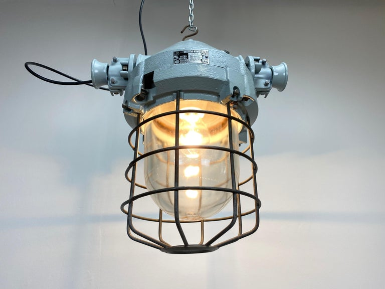 Industrial Bunker Ceiling Light with Iron Cage, 1970s For Sale 1