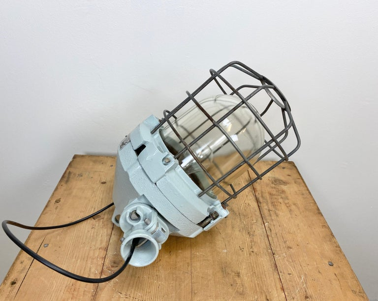 Industrial Bunker Ceiling Light with Iron Cage, 1970s For Sale 2