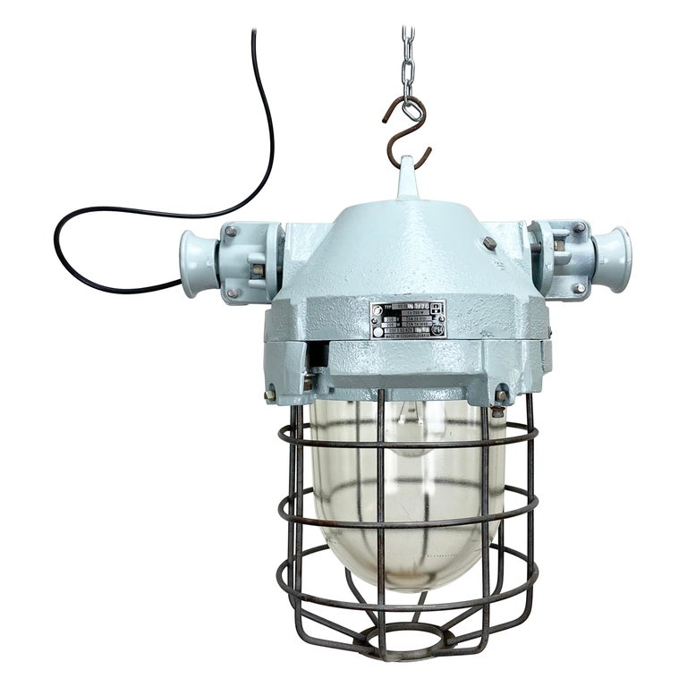 Industrial Bunker Ceiling Light with Iron Cage, 1970s For Sale