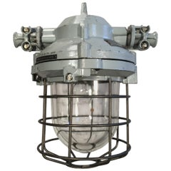 Industrial Bunker Ceiling Light with Iron Cage