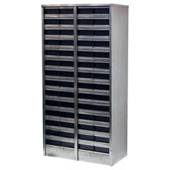 Industrial Burnished Steel Cabinet of Drawers from England