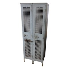Industrial c1920 Pair of Metal Lockers