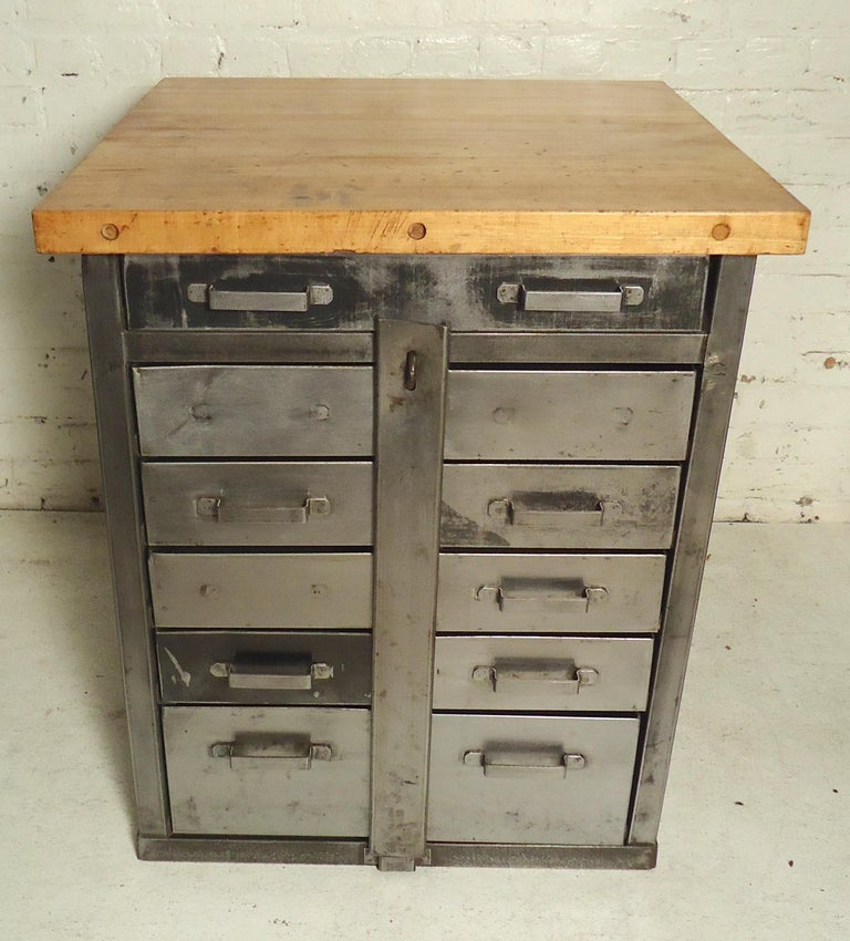 Damaged Kitchen Cabinets For Sale: Industrial Cabinet With Butcher Block Top For Sale At 1stdibs