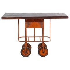 Industrial Cart Base Converted into Kitchen Island or Bar Cart, Great Color