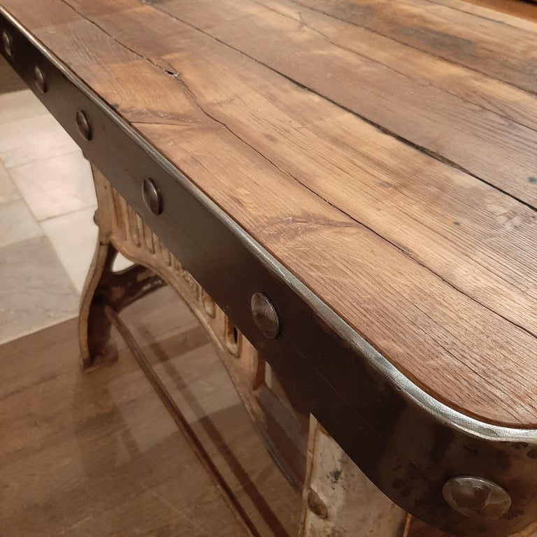 Industrial Cast Iron and Antique Oak Workbench or Side Table In Good Condition For Sale In Baambrugge, NL