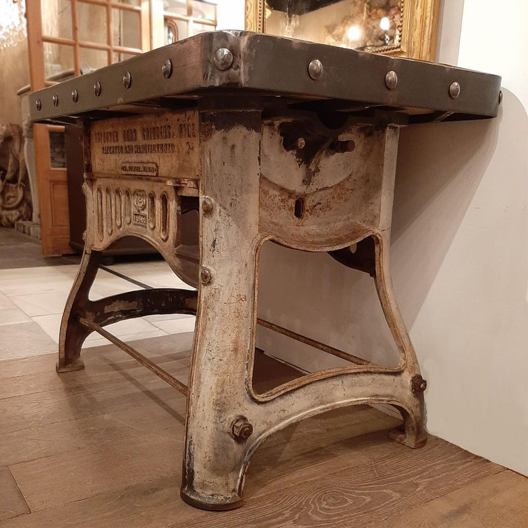 Contemporary Industrial Cast Iron and Antique Oak Workbench or Side Table For Sale