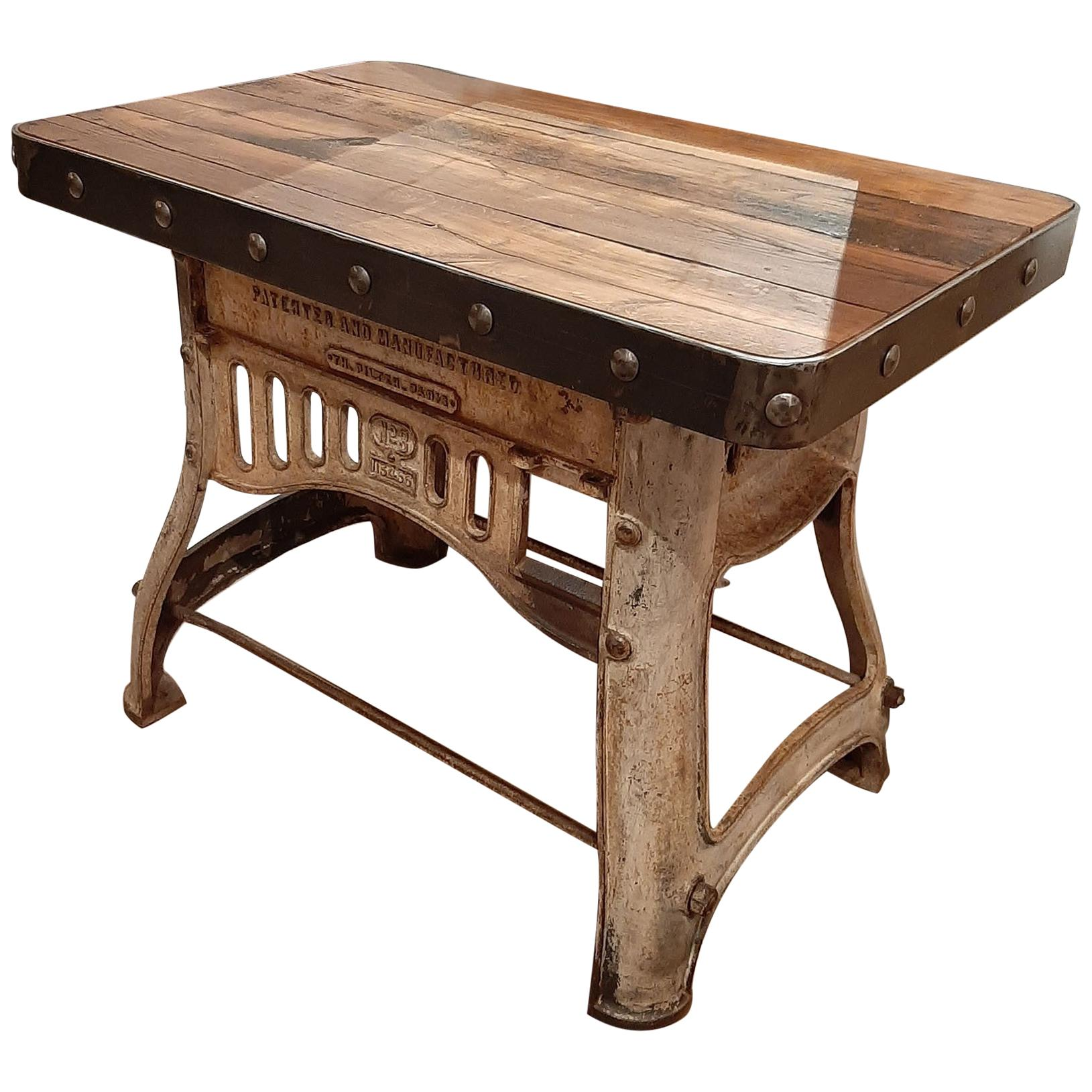 Industrial Cast Iron and Antique Oak Workbench or Side Table