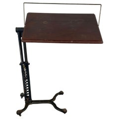 Industrial Cast Iron and Wood Adjustable Drafting / Writing Table, Unusual Mech