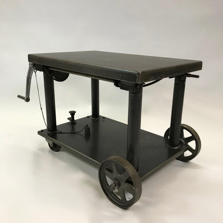 American Industrial Cast Iron Steel Rolling Cart Factory Table For Sale