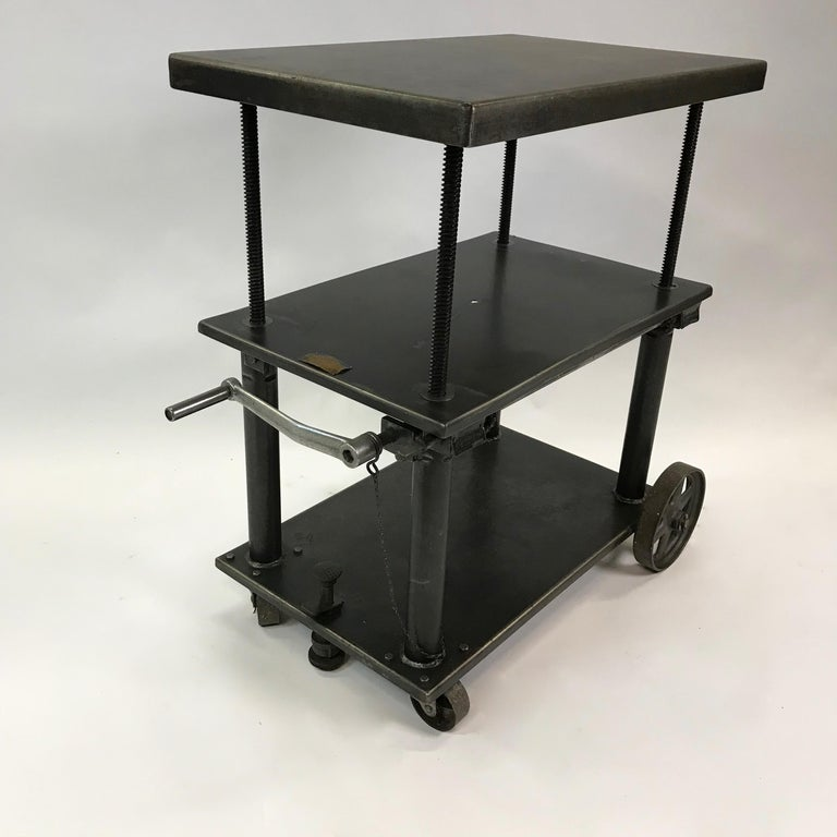 Industrial Cast Iron Steel Rolling Cart Factory Table In Good Condition For Sale In Brooklyn, NY