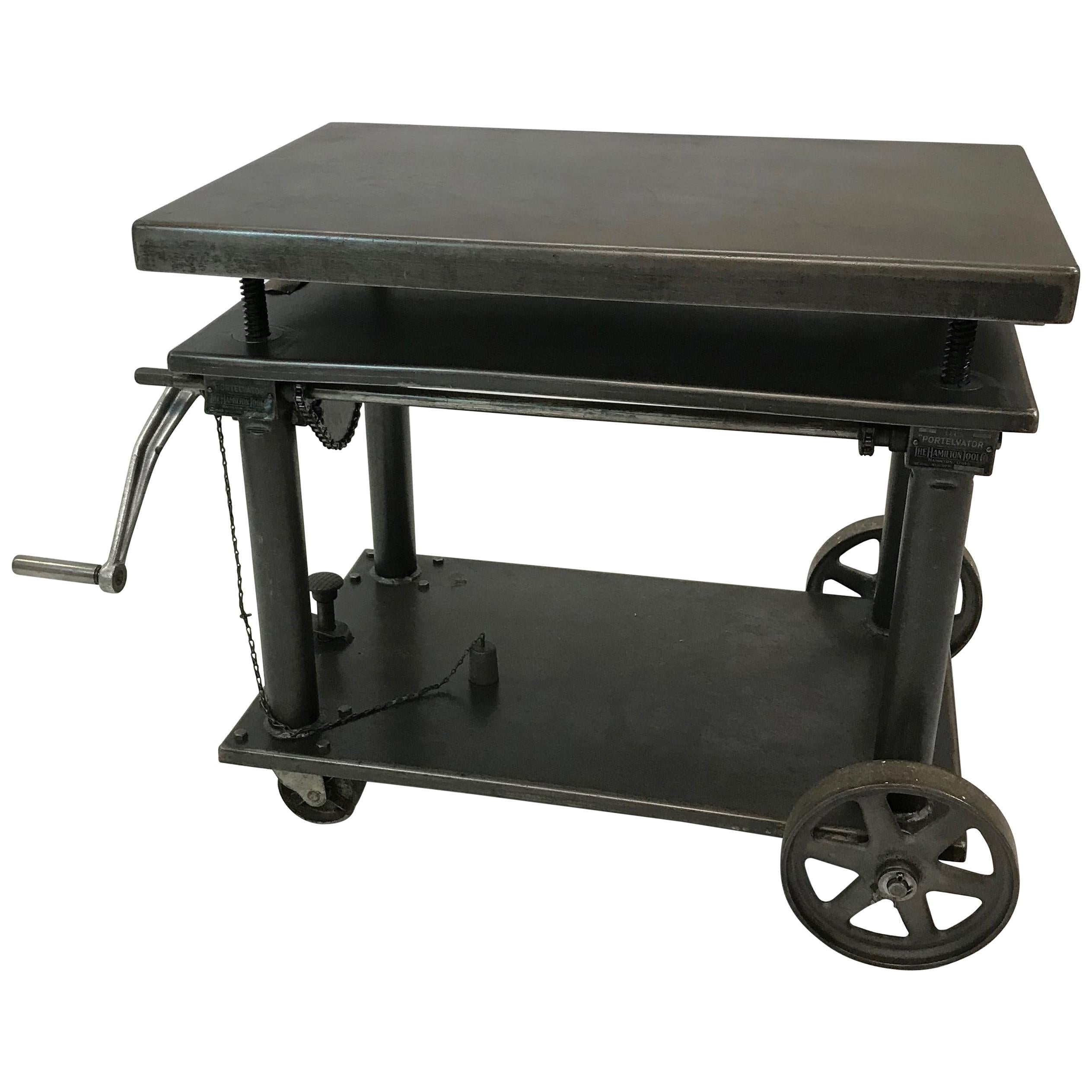 Vintage rolling cart coffee table industrial rustic wood and cast iron factory at 1stdibs