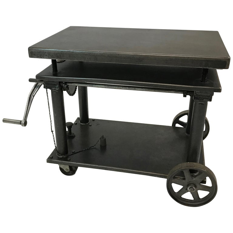 Industrial Cast Iron Steel Rolling Cart Factory Table For Sale