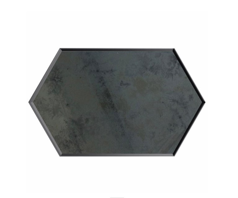 Industrial Chic Style Eros Hexagon Steel Mirrors with Plain or Antique Mirror For Sale 5
