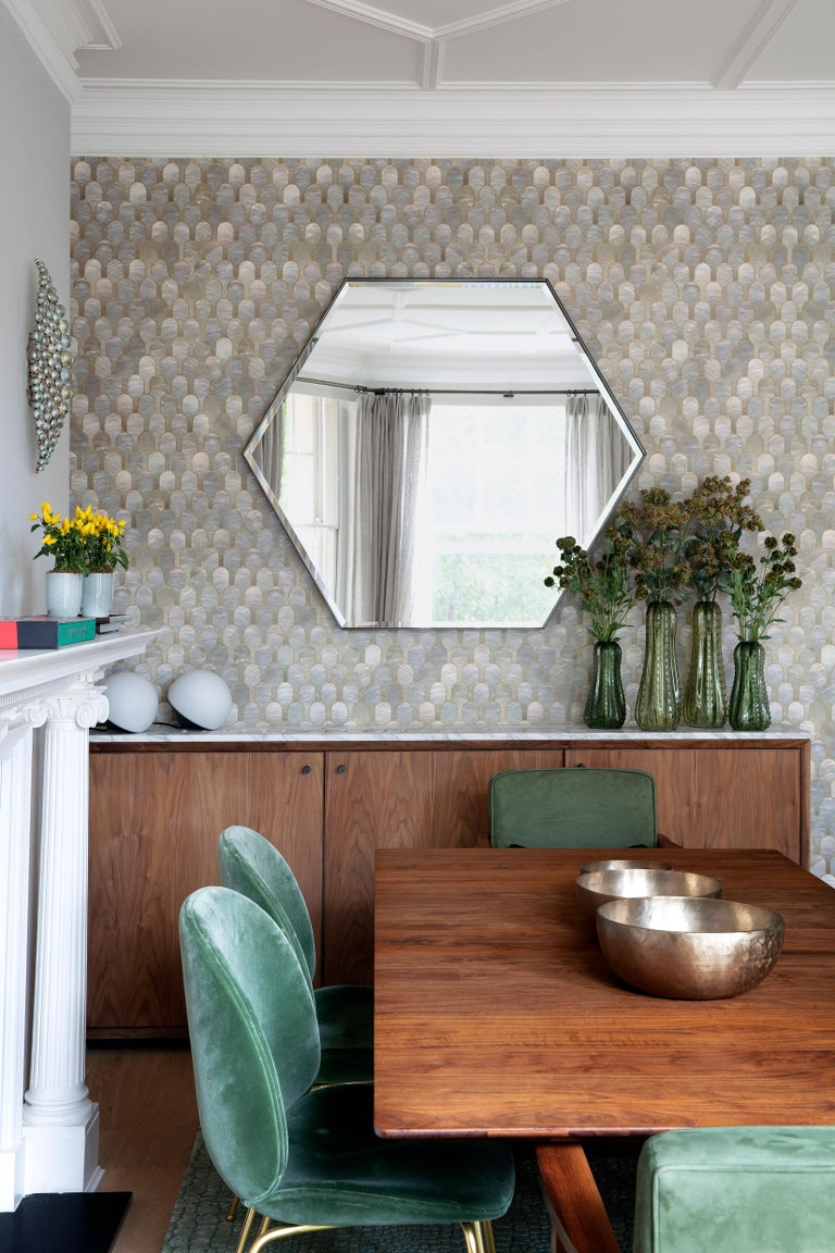 British Industrial Chic Style Eros Hexagon Steel Mirrors with Plain or Antique Mirror For Sale