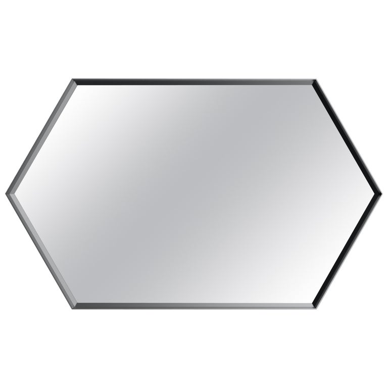 Industrial Chic Style Eros Hexagon Steel Mirrors with Plain or Antique Mirror For Sale