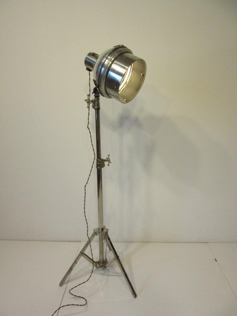 Industrial Chrome / Nickel-Plated Adjustable Floor Lamp For Sale 4