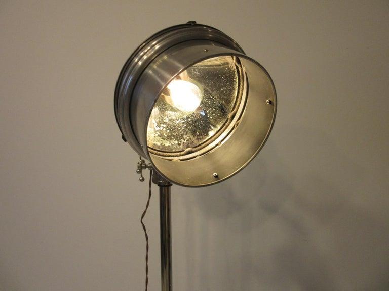 Industrial Chrome / Nickel-Plated Adjustable Floor Lamp For Sale 5