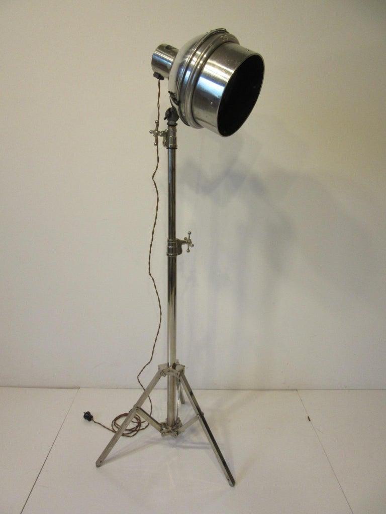 Industrial Chrome / Nickel-Plated Adjustable Floor Lamp For Sale 6