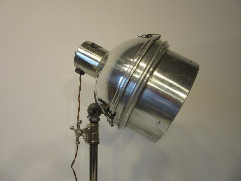 American Industrial Chrome / Nickel-Plated Adjustable Floor Lamp For Sale