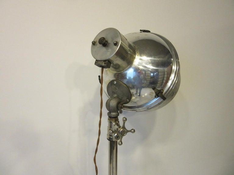 Industrial Chrome / Nickel-Plated Adjustable Floor Lamp In Good Condition For Sale In Cincinnati, OH