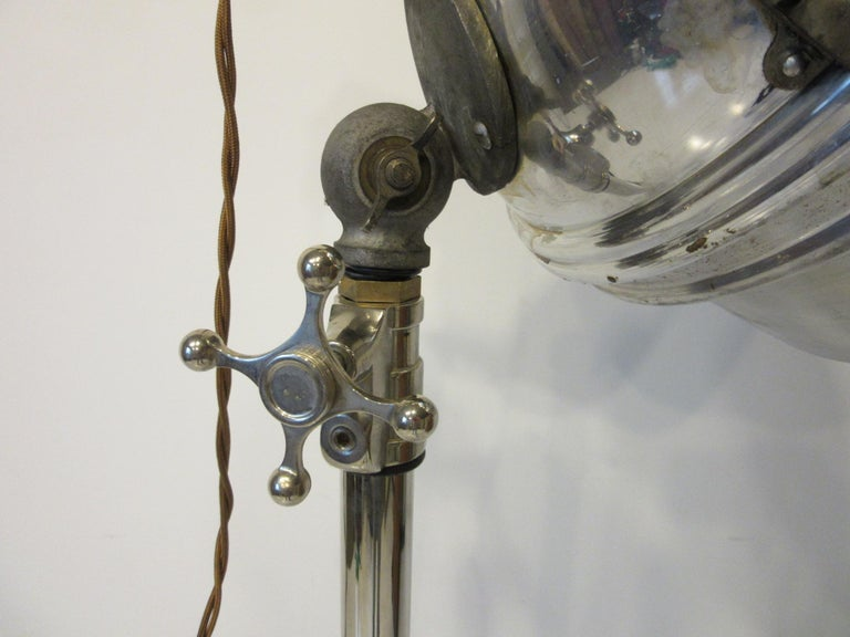 20th Century Industrial Chrome / Nickel-Plated Adjustable Floor Lamp For Sale