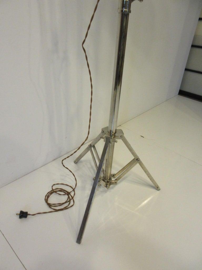 Industrial Chrome / Nickel-Plated Adjustable Floor Lamp For Sale 1