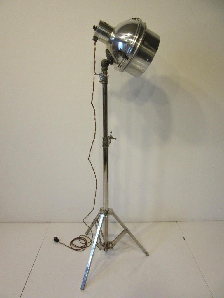 Industrial Chrome / Nickel-Plated Adjustable Floor Lamp For Sale 2