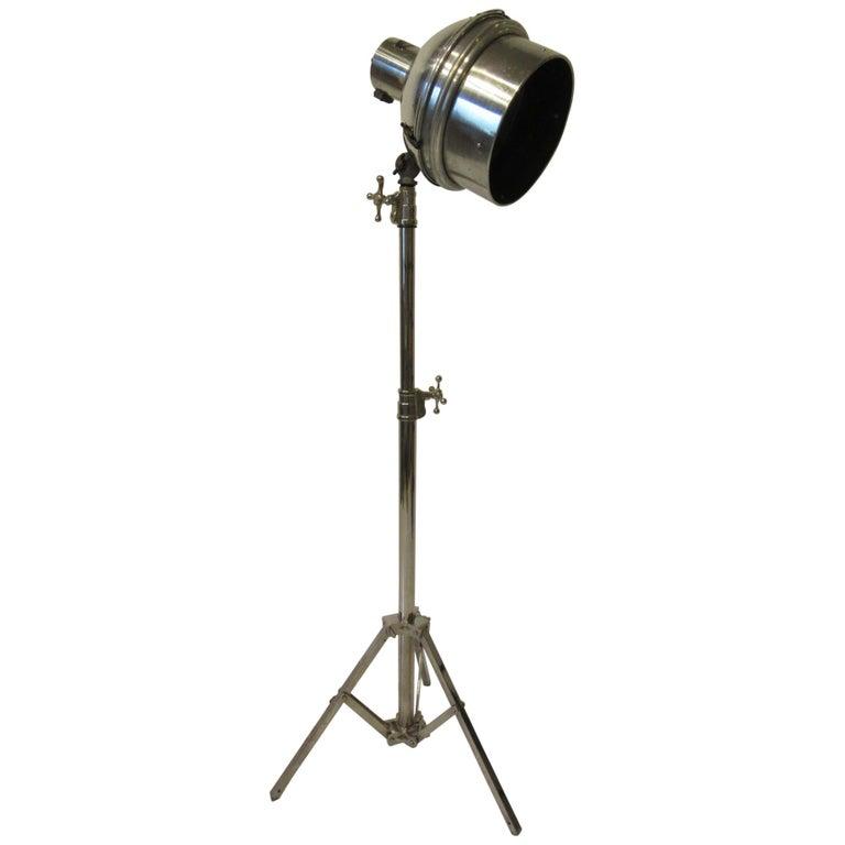 Industrial Chrome / Nickel-Plated Adjustable Floor Lamp For Sale
