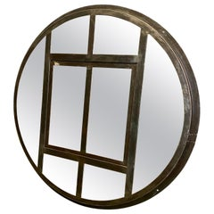 Industrial Circle Iron Window with Mirror, 1950s