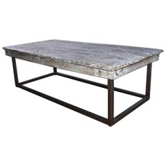 Industrial Coffee Table with Wood Top and Metal Base