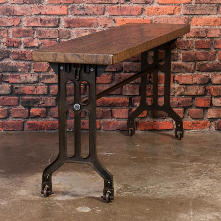 American Industrial Console Table with Reclaimed Oak Top and Cast Iron Legs For Sale