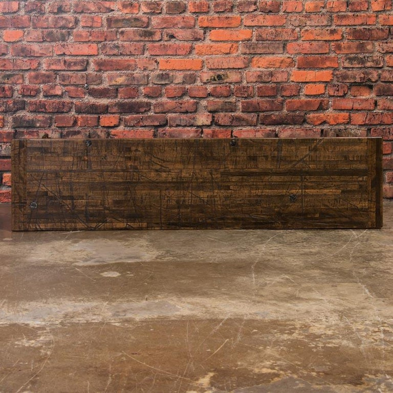 Industrial Console Table with Reclaimed Oak Top and Cast Iron Legs For Sale 1