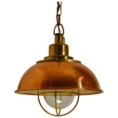 Industrial Copper and Brass Pendant Lamp