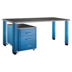 Industrial Design Metal Desk with Rolling Cart in Lacquered Metal, Germany, 2019