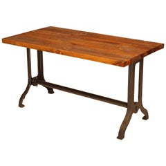 Industrial Desk, Authentic Cast Iron Legs with Rough Sawn Pine Table Top