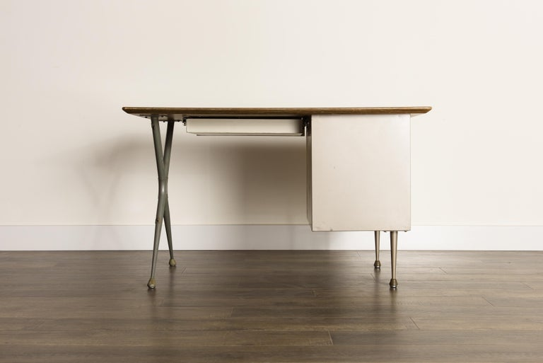 Industrial Desk by Raymond Loewy for Brunswick of Chicago, circa 1950s, Signed  4