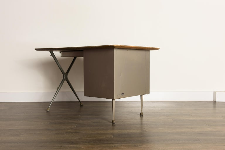 Industrial Desk by Raymond Loewy for Brunswick of Chicago, circa 1950s, Signed  5