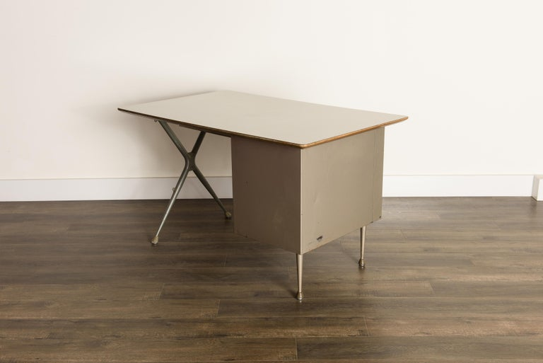 Industrial Desk by Raymond Loewy for Brunswick of Chicago, circa 1950s, Signed  6