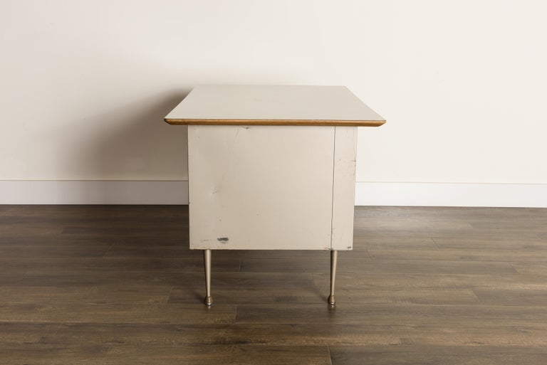Industrial Desk by Raymond Loewy for Brunswick of Chicago, circa 1950s, Signed  7