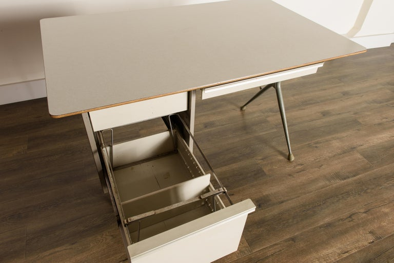 Industrial Desk by Raymond Loewy for Brunswick of Chicago, circa 1950s, Signed  9