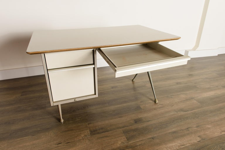 Industrial Desk by Raymond Loewy for Brunswick of Chicago, circa 1950s, Signed  11
