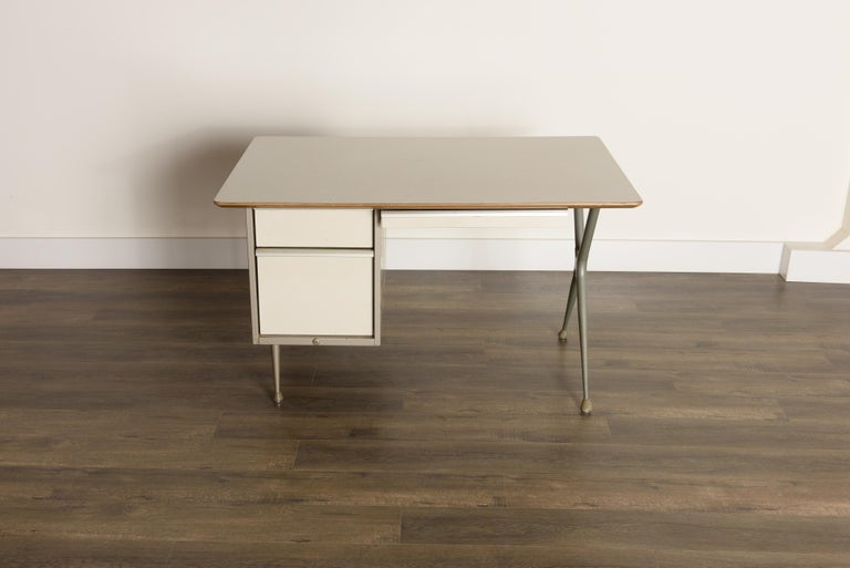 Mid-Century Modern Industrial Desk by Raymond Loewy for Brunswick of Chicago, circa 1950s, Signed