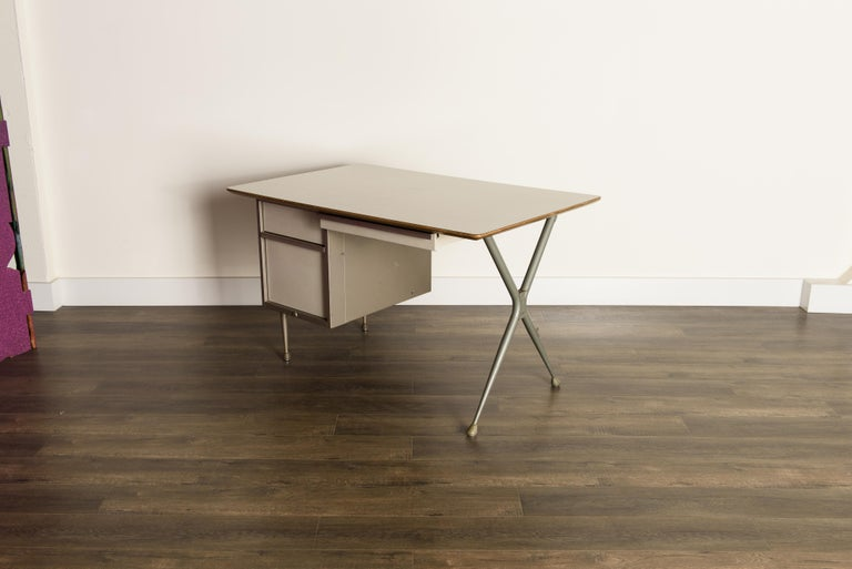 American Industrial Desk by Raymond Loewy for Brunswick of Chicago, circa 1950s, Signed