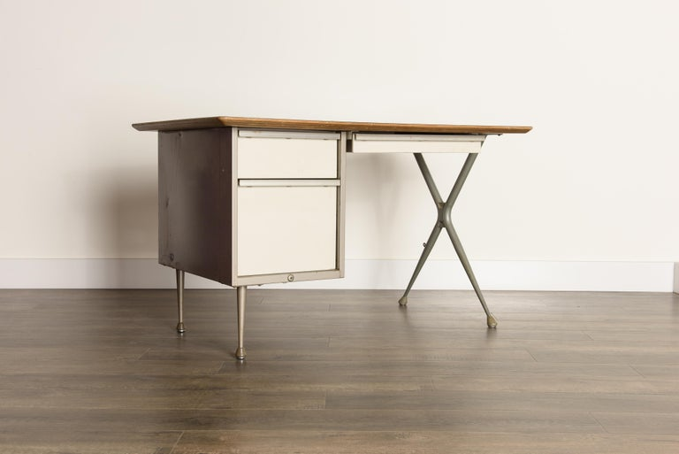 Mid-20th Century Industrial Desk by Raymond Loewy for Brunswick of Chicago, circa 1950s, Signed