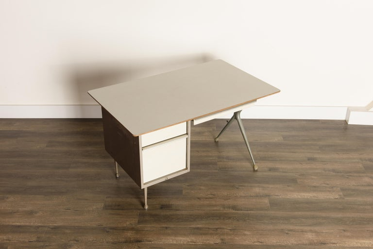 Steel Industrial Desk by Raymond Loewy for Brunswick of Chicago, circa 1950s, Signed