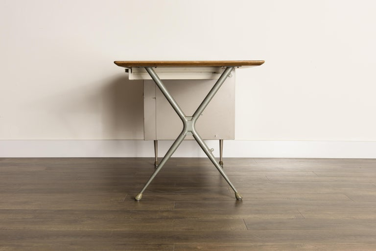 Industrial Desk by Raymond Loewy for Brunswick of Chicago, circa 1950s, Signed  1